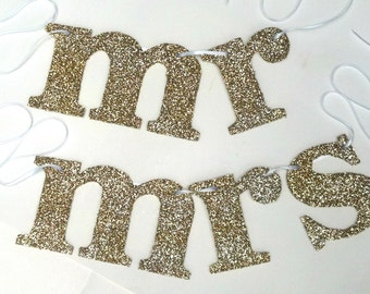 Gold Sparkle Mr and Mrs Wedding Chair Signs