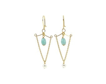 Earrings « Classik » Amazonite, gold filled
