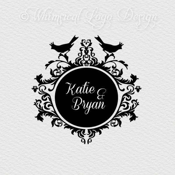 logo design wedding logo premade by whimsicallogodesign on