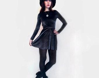 Velvet Skater Dress Open Back with Tie
