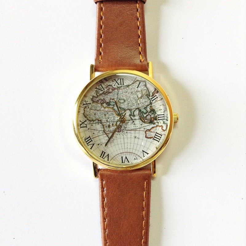 map vintage style leather watches