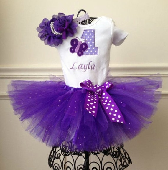 1st Birthday Purple Butterfly Tutu Outfit By