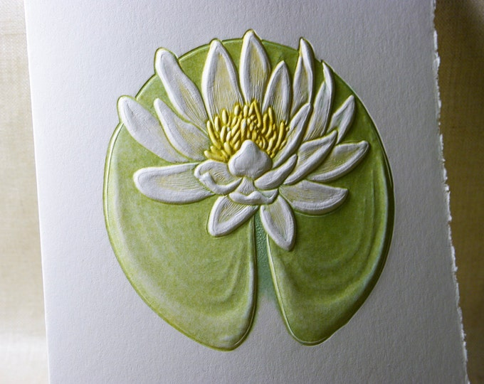 Water Lily Card. Birthday. Love. Mothers Day. Embossed. Letterpress. Single card. Blank inside.