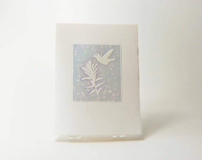 Hummingbird Holiday Card. Christmas. Embossed. Letterpress. Notecard. Single card. Blank inside.