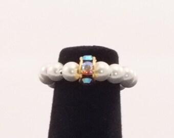 Small Hemalyke Pearl and Crystal Ring