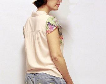 SALE! Summer Blouse , Pink Blouse , Office Wear , Buttoned Blouse , Elegant Blouse , Petal Sleeve , Peach Blouse , Floral Top