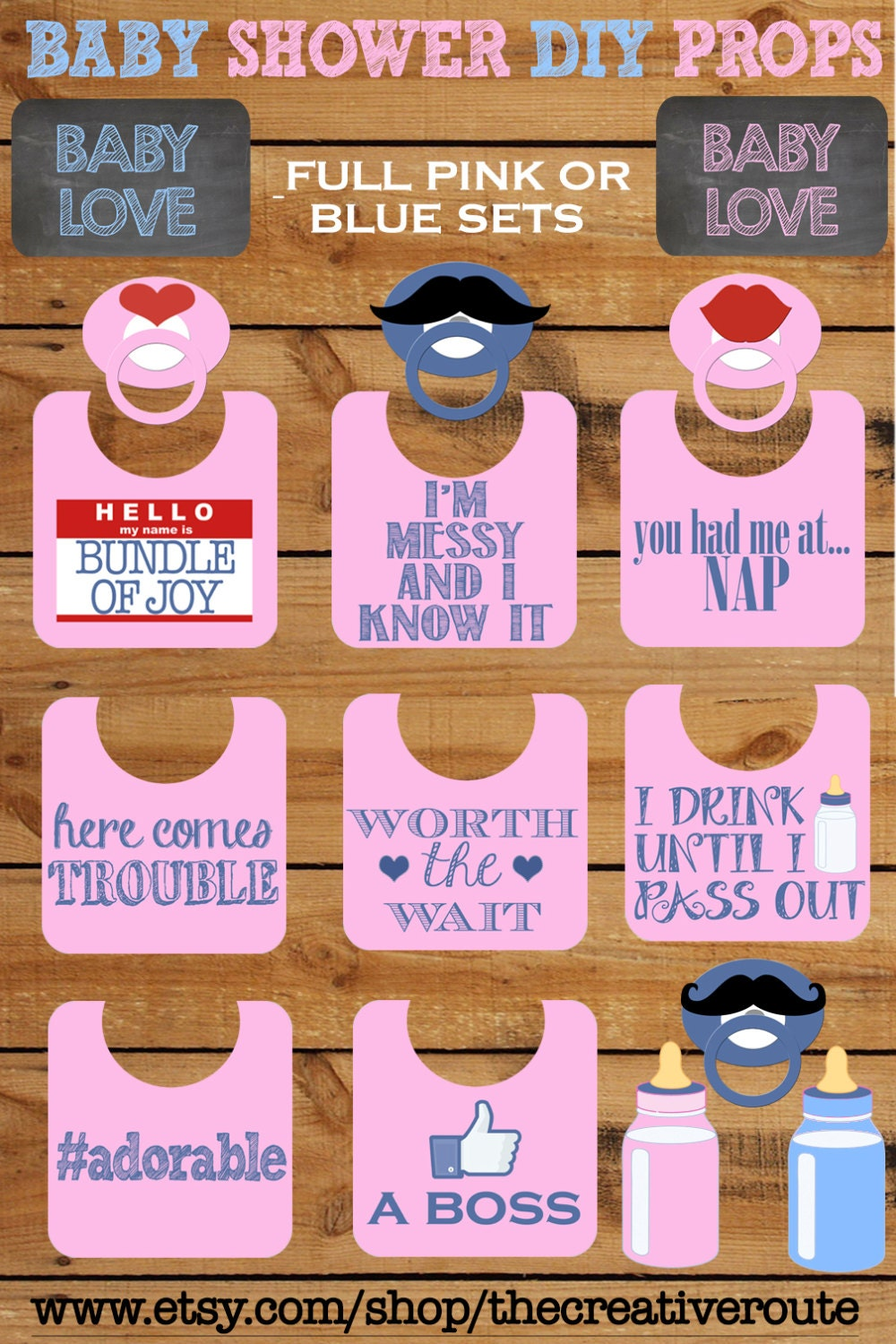 baby shower photo booth props printable large 11 page pdf diy