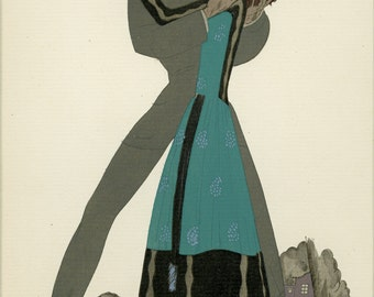 "Lepape -Gazette Du Bon Ton C.1921  Pochoir Print French Fashion Art Deco - Matted 10 x12"" Art"