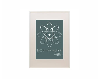 Science art - Physics - Rutherford quote and model of atom poster typographic print on paper or canvas up to A0 size