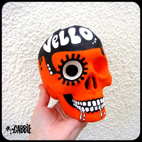 Moloko Vellocet Ceramic Skull (The eye follows you!!) - A Clockwork Orange Style - Original Art Custom Painted - One of a kind!
