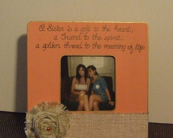 Personalized frame for Sister Gift for sister Best friend frames Picture frames Cottage Chic frame Shabby Chic frame Sisters frames in melon