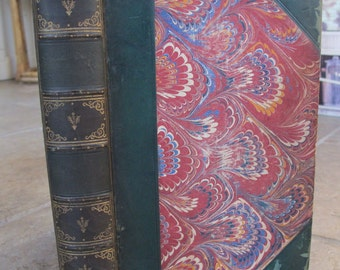 "1872, ""The Headsman"" by James Fenimore Cooper, Rare Antique Leather Book, Very Good Condition, Illustrated"