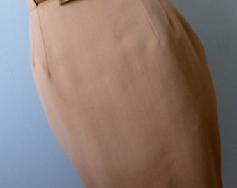 High Waist Pencil Skirt  - Small - Vintage Camel Wool Tailored Skirt - Made in Germany -KS Klaus Steilmann -Mad Men Classic