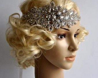 Glamour Rhinestone flapper Gatsby Headband, Wedding Headband, Crystal Headband, Wedding Headpiece, Bridal Headpiece, 1920s Flapper headband