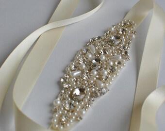 Crystal Pearls Rhinestone , flapper Gatsby Headband, Wedding Headband, Wedding Headpiece, Halo Bridal Headpiece, 1920s Flapper headband