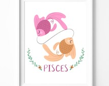 Pisces - Zodiac Print - Astrology Print