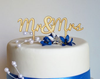 Mr & Mrs Wedding Cake Topper - Laser Cut Wood Cake or Pie Topper  also available in acrylic