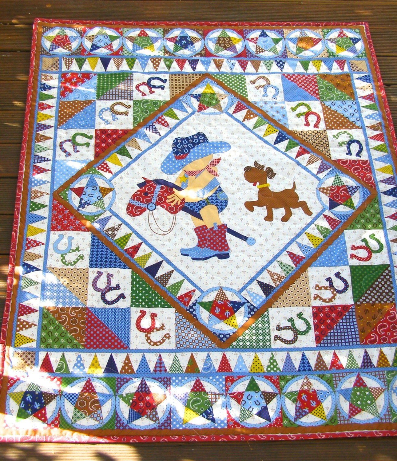 Cowboy Quilt Baby Boy Quilt Vintage Baby Quilt By