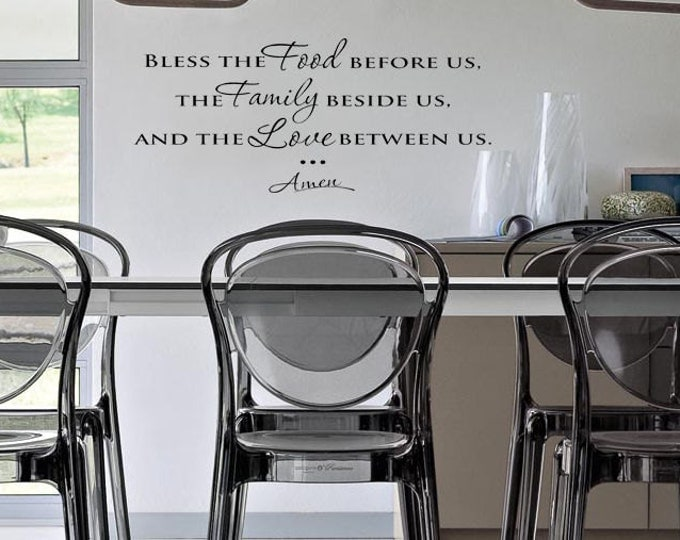 Bless the food before us ... love family VINYL WALL DECAL for wall kitchen diner room jesus prayer