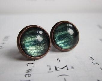 Ionosphere - Earring studs - science jewelry - science earrings - galaxy jewelry - physics earrings - fake plugs - plug earrings