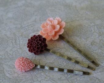 Garden Flowers Pin Set- Hair Accessories-Peach, Sparkly Blush and Burgundy Bobby Pins- Set of Three