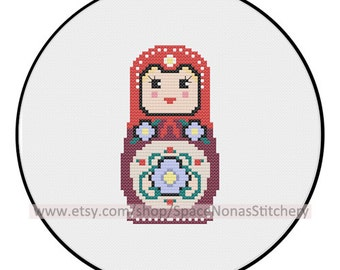 Medium Matryoshka Cross Stitch Pattern