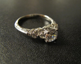 One of our Best Sellers; Vintage-Inspired Engagement Ring, Made to Order, #B0352