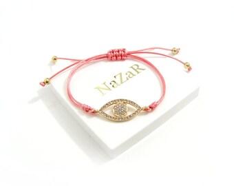 Evil Eye Bracelet - Pink Evil Eye Friendship bracelet with Gold Plating elements - Arrives in a white gift box!