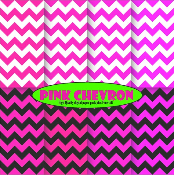 Pink Chevron digital paper scrapbook Pink chevron decor Printable chevron pattern Hot Pink chevron digital background birthday invitation