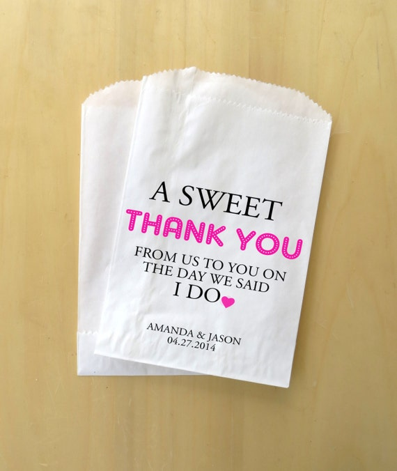 Custom Wedding Favor Bags ~ Personalized Treat Bags, Wedding Candy ...
