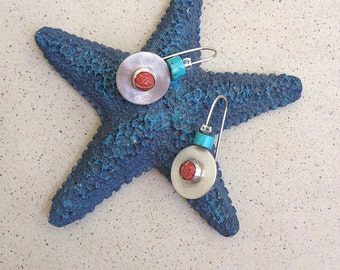 Circular Silver Earrings, Coral and Turquoise earrings, Handmade silver earrings, Turquoise earrings, colorful earrings