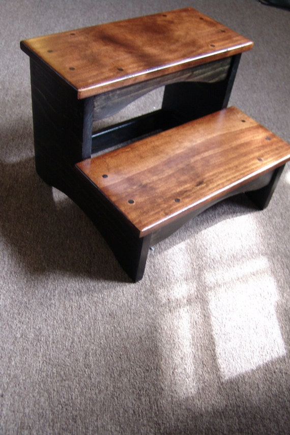 Bed Step Stool: Handcrafted Heavy Duty 2 Step Stool Solid Wood Bedside