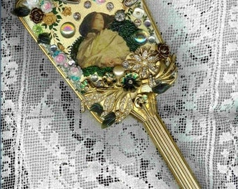 Romantic Rose ~ Antique hand mirror with embellishments of beauty