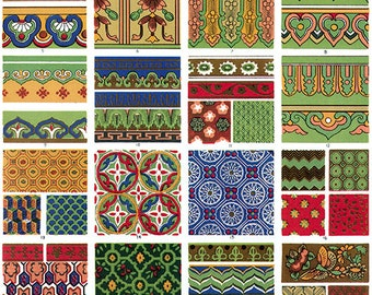 Chinese ornament collage sheet, antique art immediate download, printable painting -- item no 39