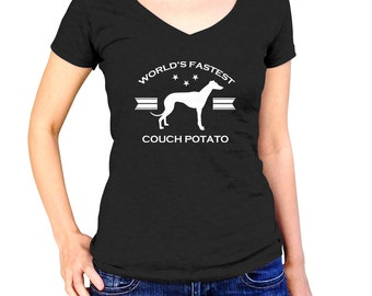 World's Fastest Couch Potato Greyhound Shirt - greyhound Shirt -Greyhound Lover - Greyhound Rescue - (See SIZING CHART in Item Details)