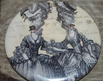The Halloween Ball pocket mirror, a Marie Antoinette inspired Gothic WickedlyLovely Art pocket mirror