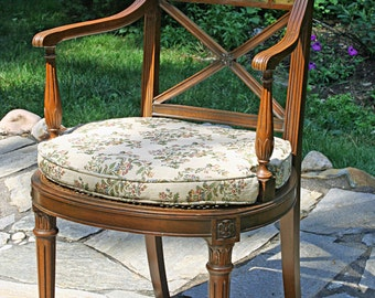 SOLD - Painted Furniture. Beautiful Vintage Chair with English Cottage painting. High quality estate piece.  Caned seat and upholstered cus