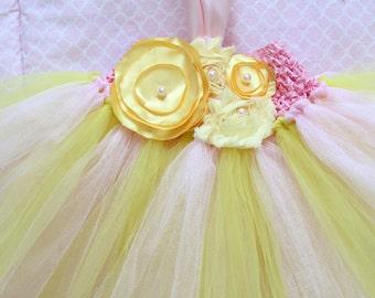 Beautiful Pink Lemonade Tutu Dress Shabby Chic Flower Tutu Dress for Baby Girl First Birthday 6-18 Months