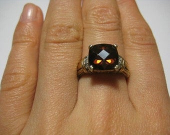 Brown CZ vintage gold over sterling silver ring, size 6.5