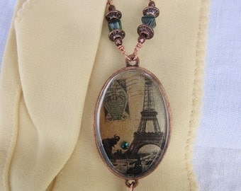 Eiffel Tower Pendant, Eiffel Tower Jewelry, French Image Pendant, Eiffel Tower Necklace, French Image Pendant, Paris Image Necklace, Paris