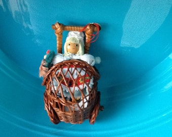Wicker Miniature Dollhouse Carriage, Buggy, Pram, Cart & Adler Doll in blue/white C1982. Collectible. Vintage. Mini Doll and Doll Pram Pair.