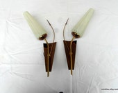 2 Mid century large wall light sconces. patterned glass shade. French vintage lighting.
