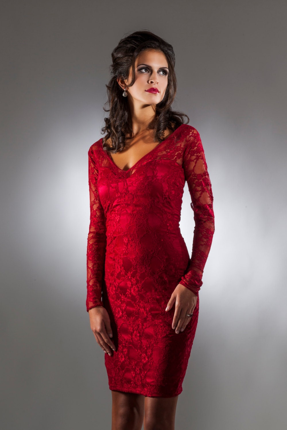 Cranberry Lace Cocktail Dress