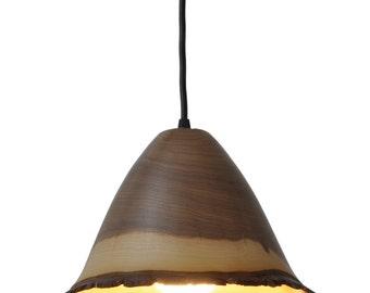 walnut wood pendant light bark edge series