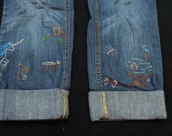 Whimsical Embroidered Jean Capris
