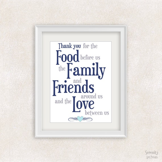 Love For Food Quotes: Food Family Friends Love Quote Art Print 8x10 Positive