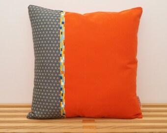 Housse de coussin, asanoha, diamants japonais avec fond orange / Pillow, cushion cover, asanoha, japanese diamonds with orange