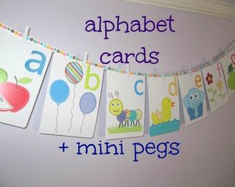 Alphabet Cards, Set of 26 alphabet wall cards plus 26 mini pegs, Alphabet nursery wall art, alphabet bunting, alphabet flash cards