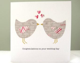 Personalised wedding card - wedding congratulations card - love birds wedding card - pink grey - engagement greeting card