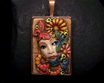 Spring Flowers and Butterflies Pendant or Face Bead handmade OOAK Polymer Clay cameo jewelry